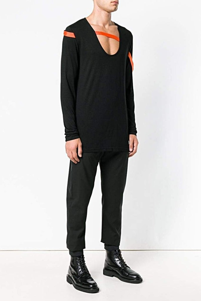UNCONDITIONAL AW18 BLACK | FLOURO ORANGE U-NECK BONDAGE RIBBON T