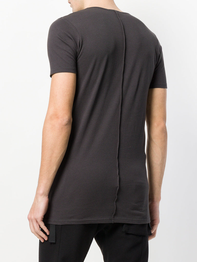 UNCONDITIONAL DARK GREY scoop neck fine jersey T-shirt with centre back French seam.