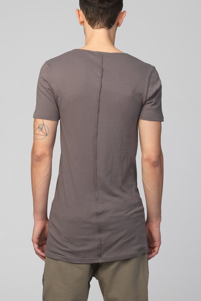 UNCONDITIONAL Military Mouse grey signature scoop neck fine jersey T-shirt with back French seam.
