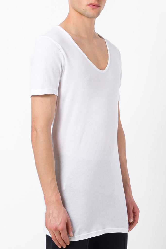 UNCONDITIONAL White signature scoop neck fine jersey T-shirt with back French seam.