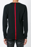 UNCONDITIONAL Black and Red long sleeved basic tee with silk stripe to the front and back.