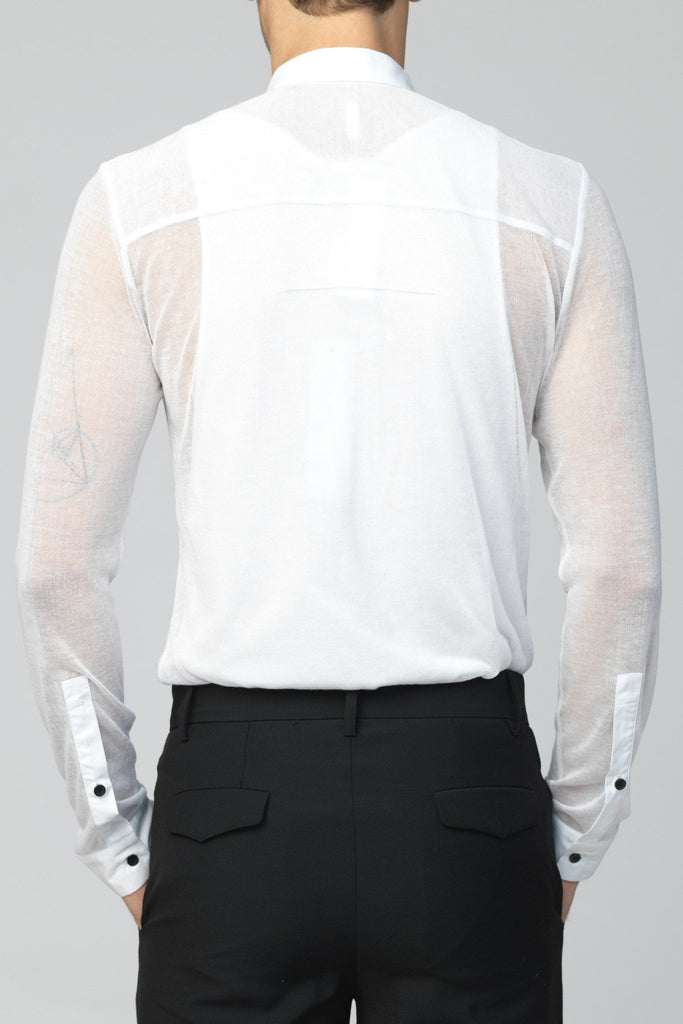 UNCONDITIONAL white Japanese cotton mesh shirt , with cotton shirting contrast detailing, on the cuff , collar and concealed button stand. FJSH145-MESH