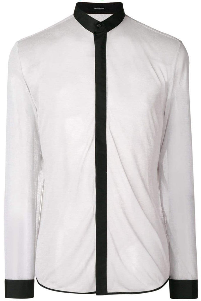 Unconditional dirty white and black cotton mesh shirt fjsh145-c-mesh