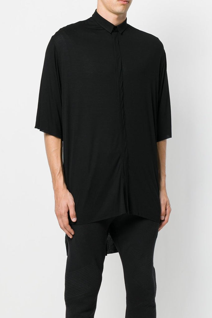 UNCONDITIONAL SS18 Black rayon slouchy tail back shirt with oversized short sleeve