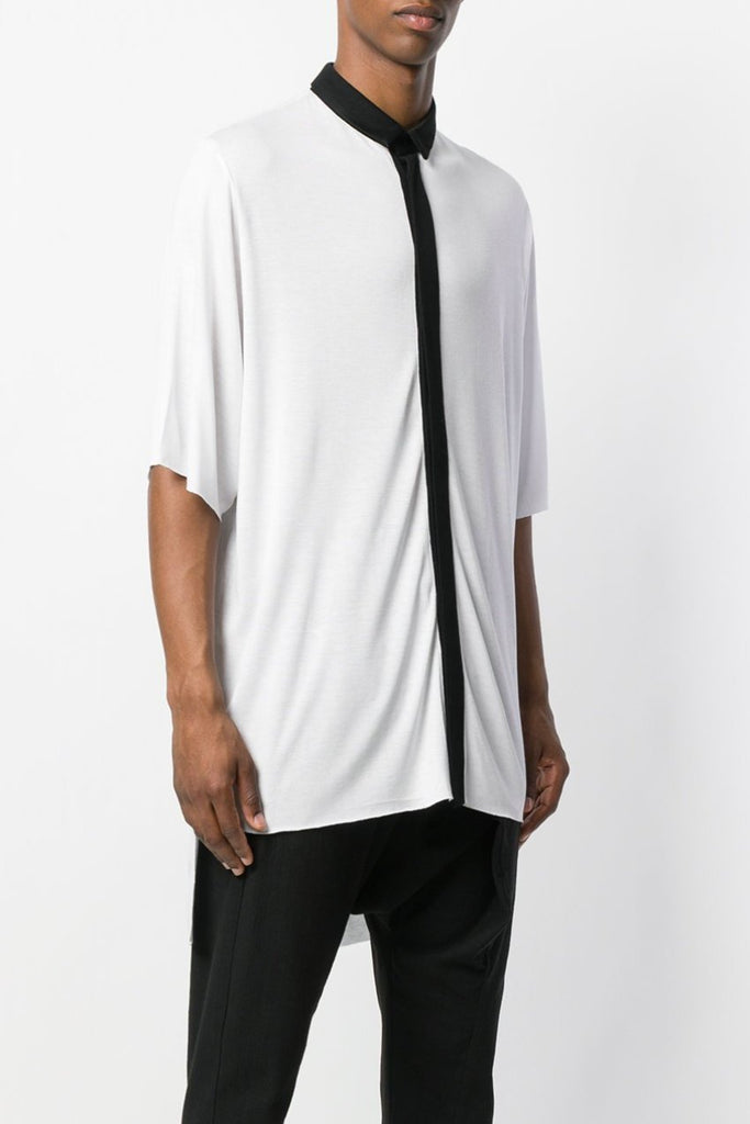UNCONDITIONAL 2018 White / Black short sleeve slouchy tail back shirt