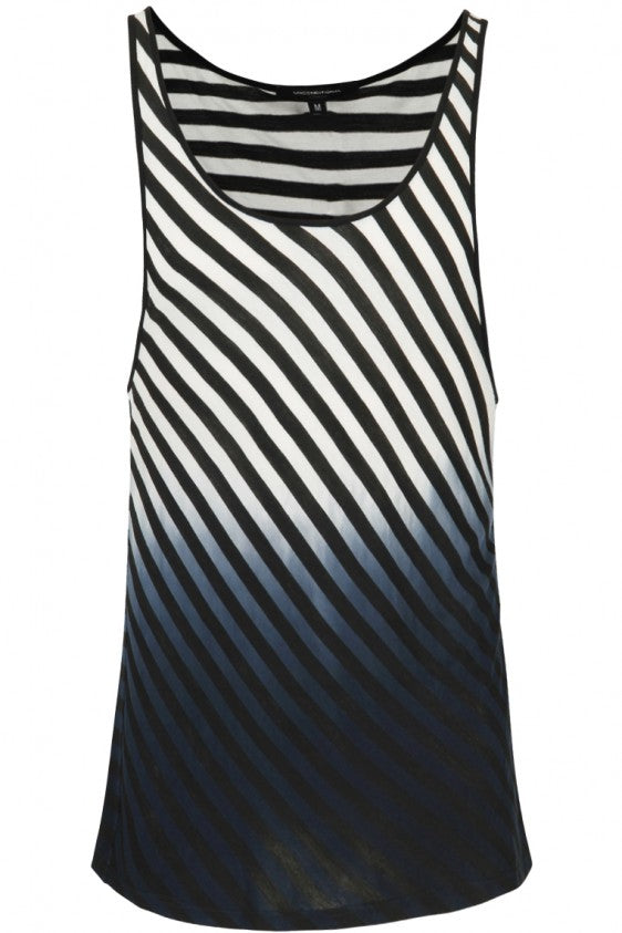UNCONDITIONAL SS19 black | white stripe dip dyed contrast bound vest