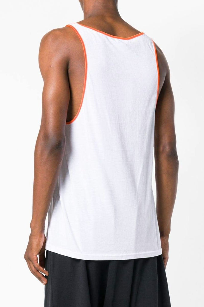 UNCONDITIONAL SS20 SIGNATURE white vest with contrast orange airtex binding