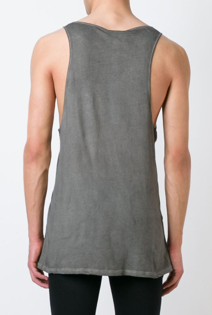 UNCONDITIONAL Military cold dye longer fine jersey vest.