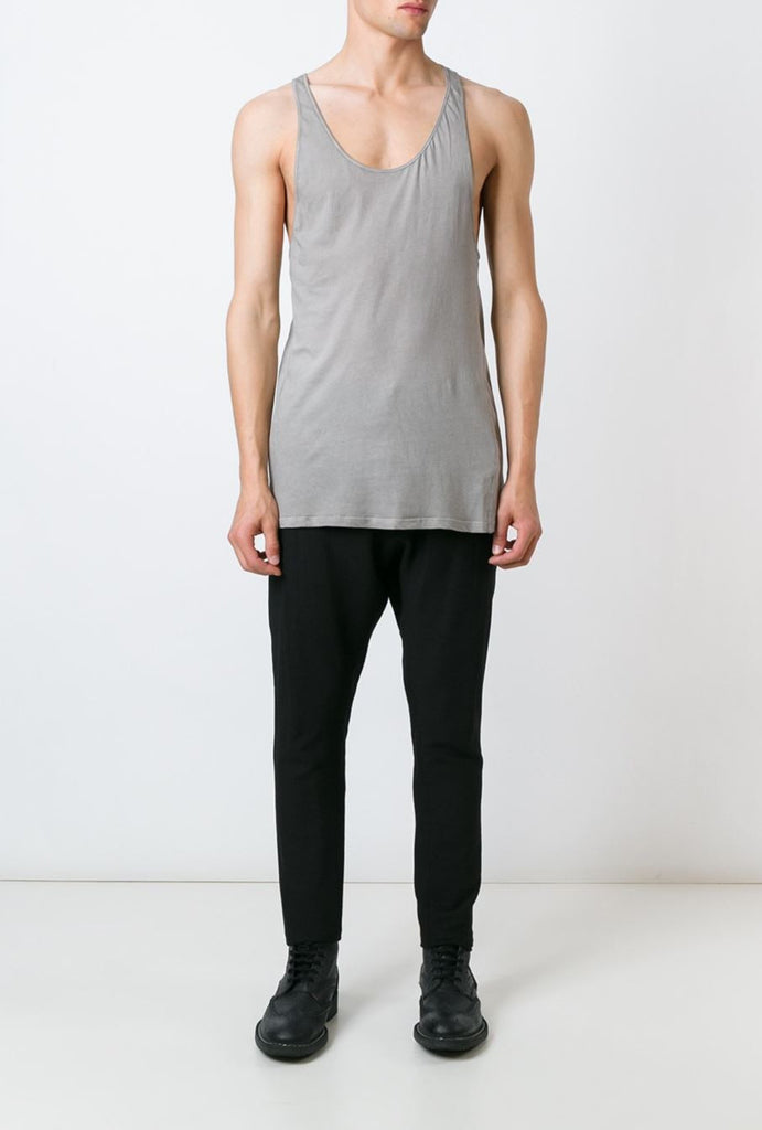 UNCONDITIONAL Cloud Grey cold dye longer fine jersey vest.