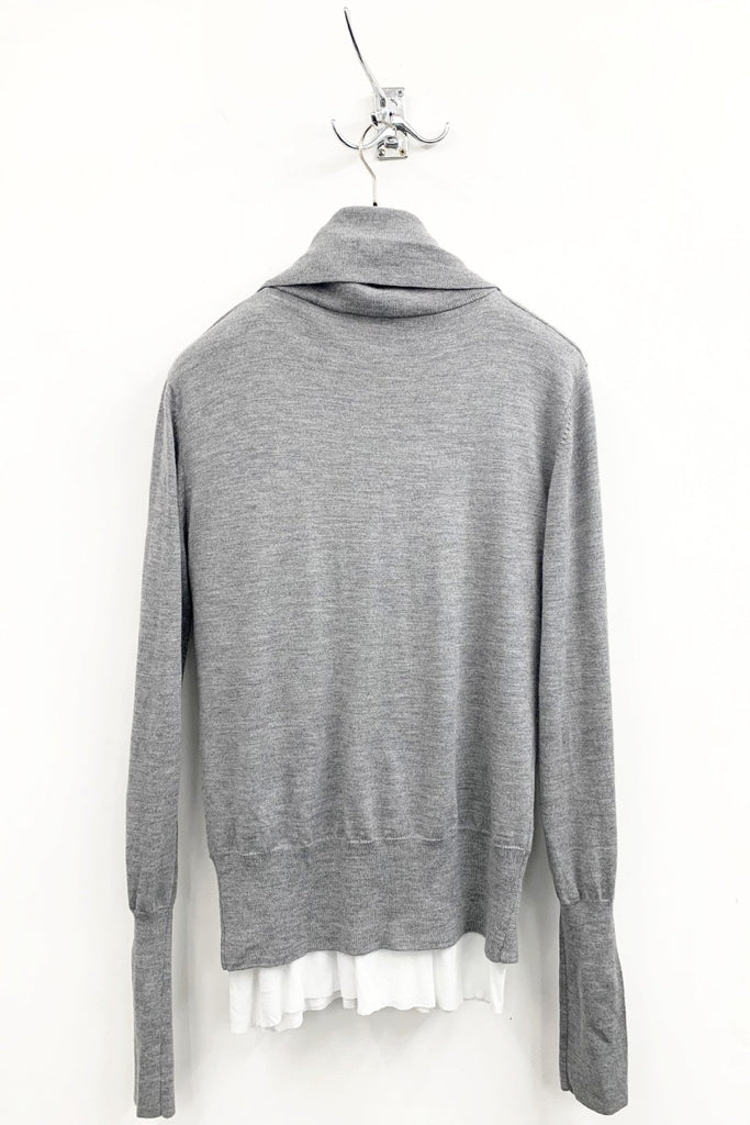 UNCONDITIONAL SS19 Flannel grey plunge wrap jumper with ribbed collar