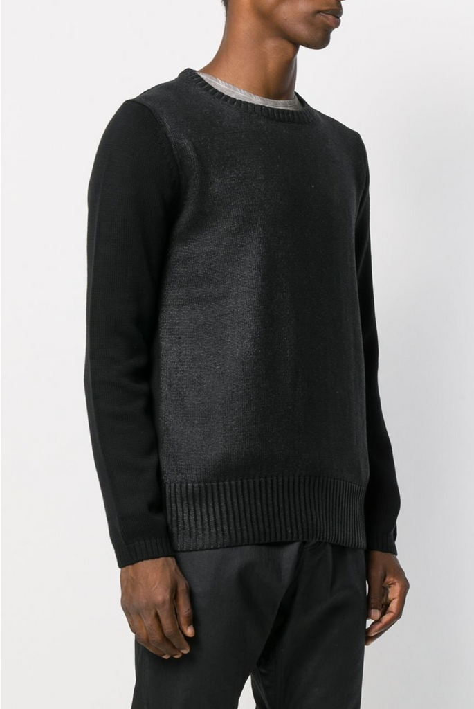 UNCONDITIONAL AW19 Black foiled WET LOOK crew neck jumper.