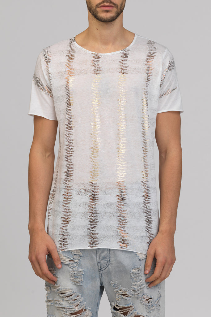 UNCONDITIONAL SS19 white foiled fern print crew neck t-shirt