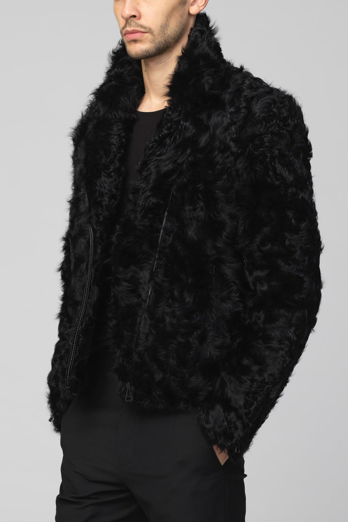 UNCONDITIONAL Black Toscana Lamb Curly Fur Biker jacket.