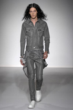 UNCONDITIONAL Silver Glitter Spray cotton drill jacket with biker tail.