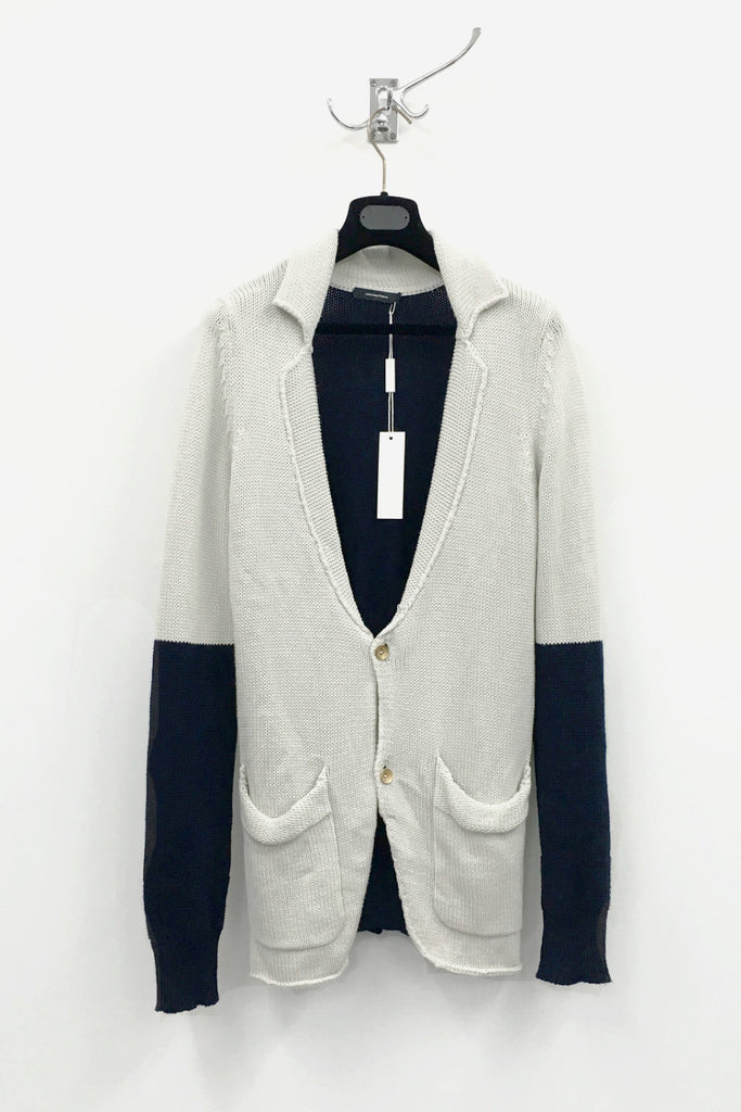 UNCONDITIONAL Dirty White / Navy relaxed cotton colour blocked cardigan