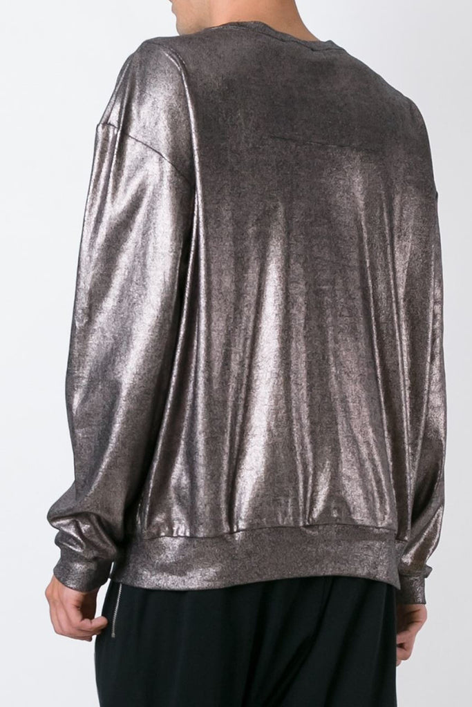 UNCONDITIONAL bronze metalic crew neck oversized sweatshirt HC560-FOIL