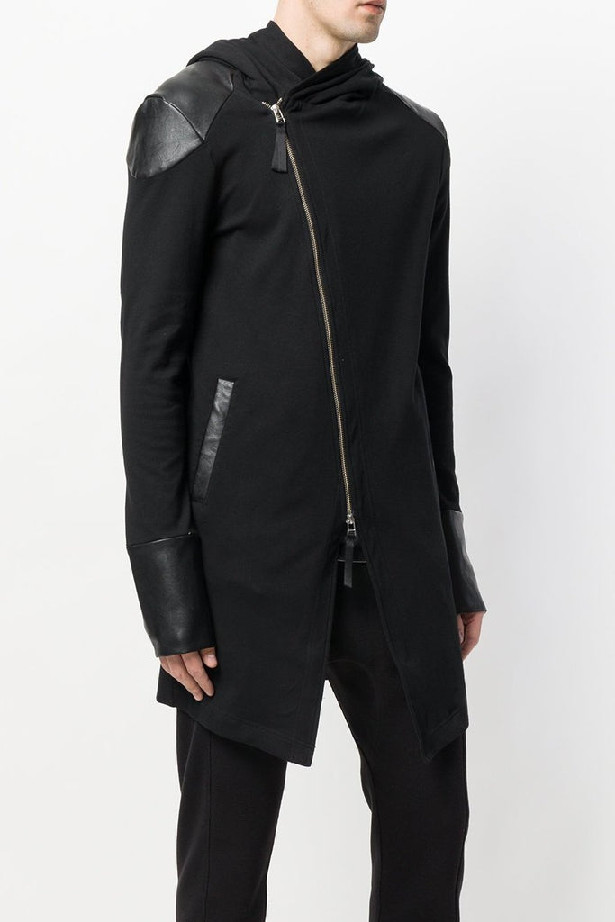 UNCONDITIONAL AW18 Black long Biker hoodie-coat