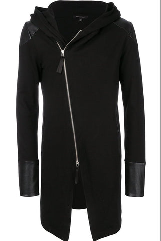 UNCONDITIONAL SS19 Black hooded zip up butterfly sweat tailcoat