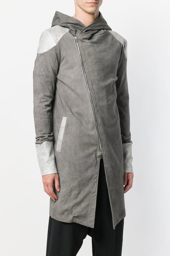 UNCONDITIONAL AW19 Sand long biker hoodie with faux leather detailing