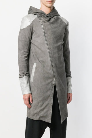 UNCONDITIONAL SS18 Signature Dark Grey merino open sided tailcoat hoodie.