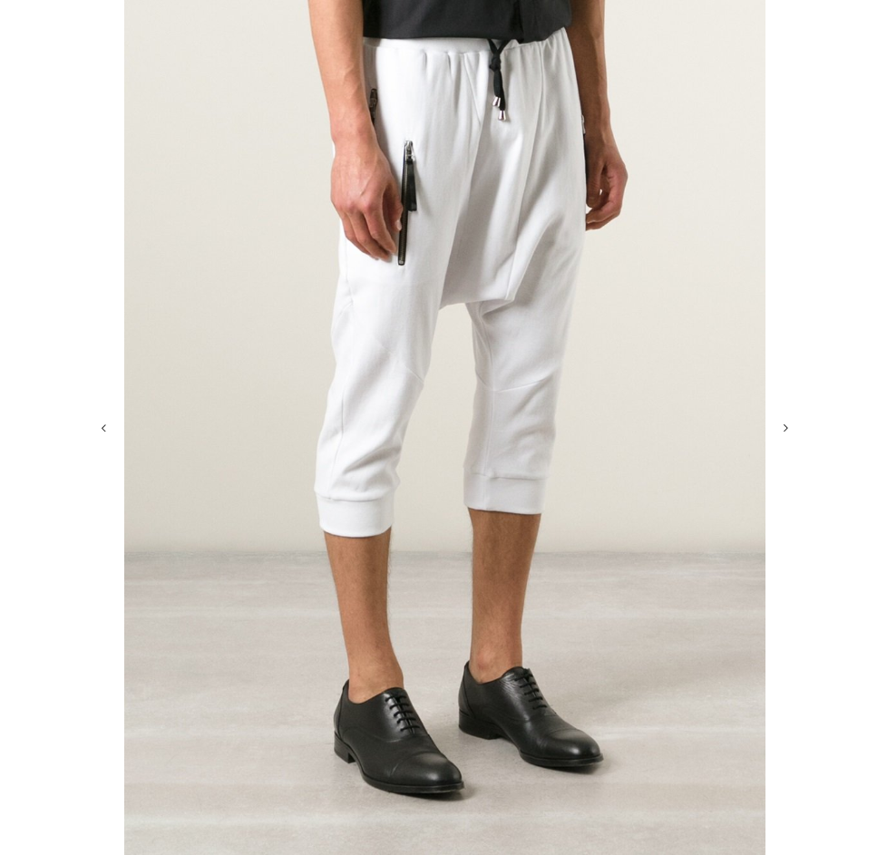 UNCONDITIONAL White double zipped pocket drop crotch seamed track shorts