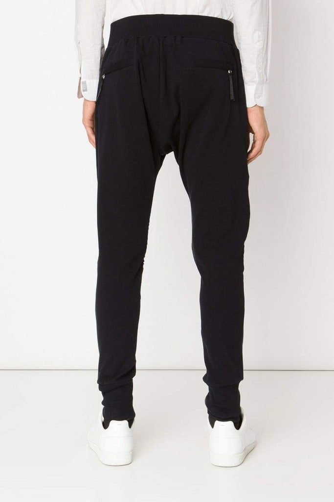 UNCONDITIONAL SS19 Black slim jersey trousers with knee piping