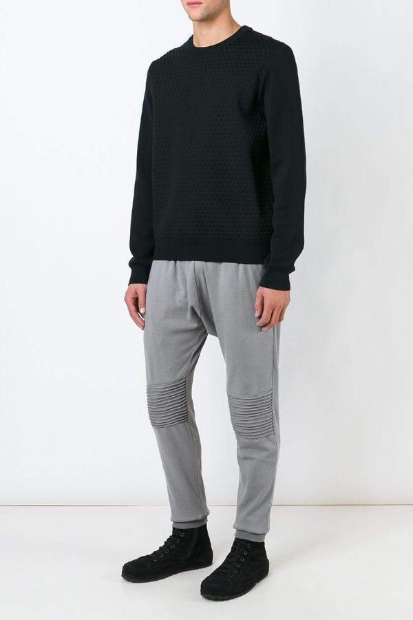 UNCONDITIONAL AW19 Mouse grey jersey trouser with knee piping