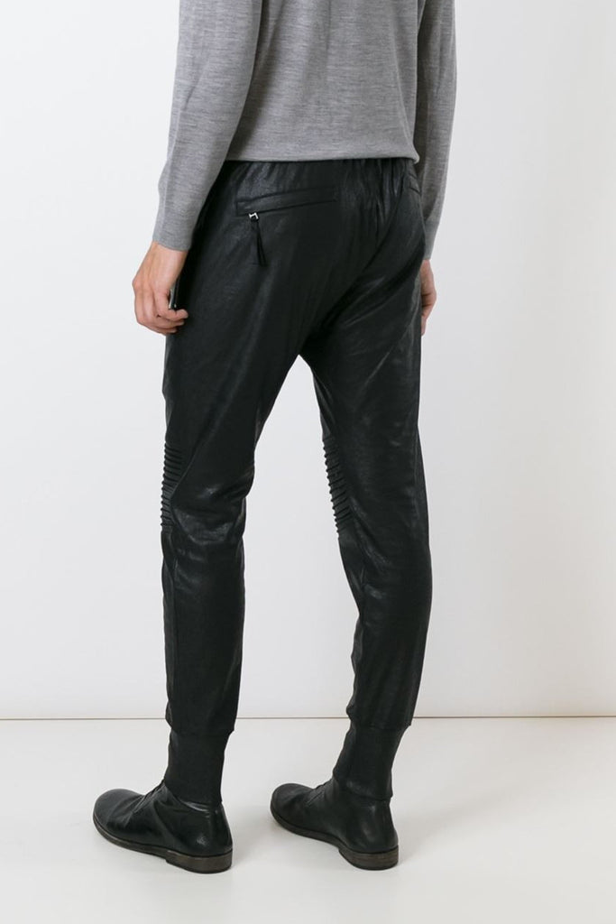 UNCONDITIONAL SS18 Matt black foil, leather look slim joggers with knee & crotch piping