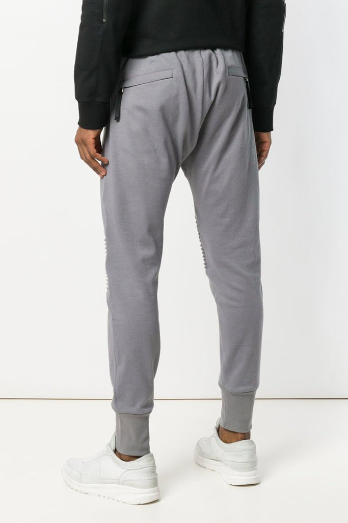 UNCONDITIONAL AW18 Mouse Grey slim cotton jersey trousers with knee and crotch piping details