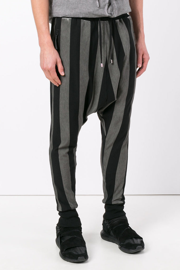 UNCONDITIONAL Military Cold Dye / Black drop crotch vertical striped joggers