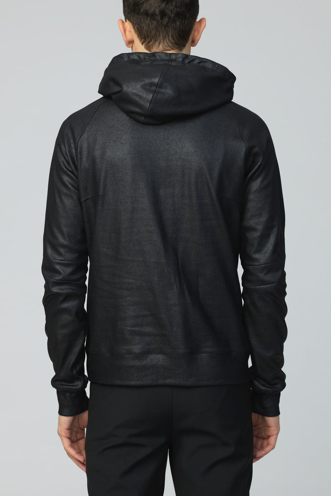 UNCONDITIONAL AW19  MATT BLACK, LEATHER L0OK, FOILED SLIM FIT HOODIE