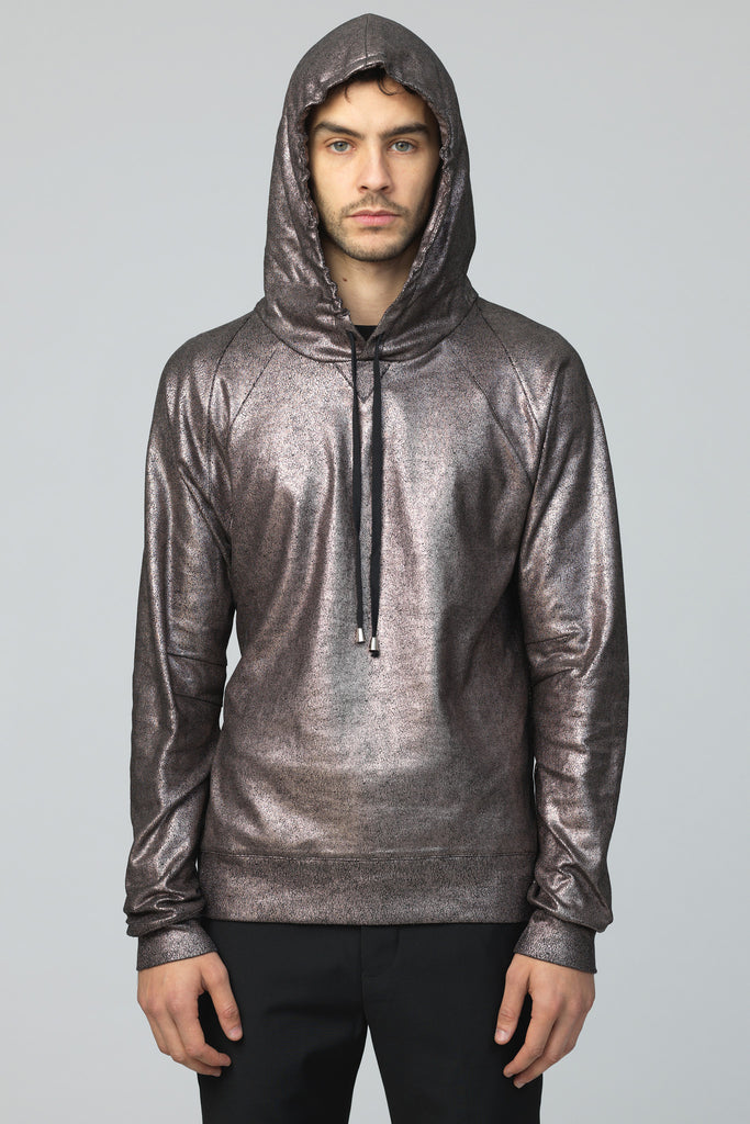 UNCONDITIONAL AW16 Dark Bronze foiled heavy cotton jersey slim fit hoodie.