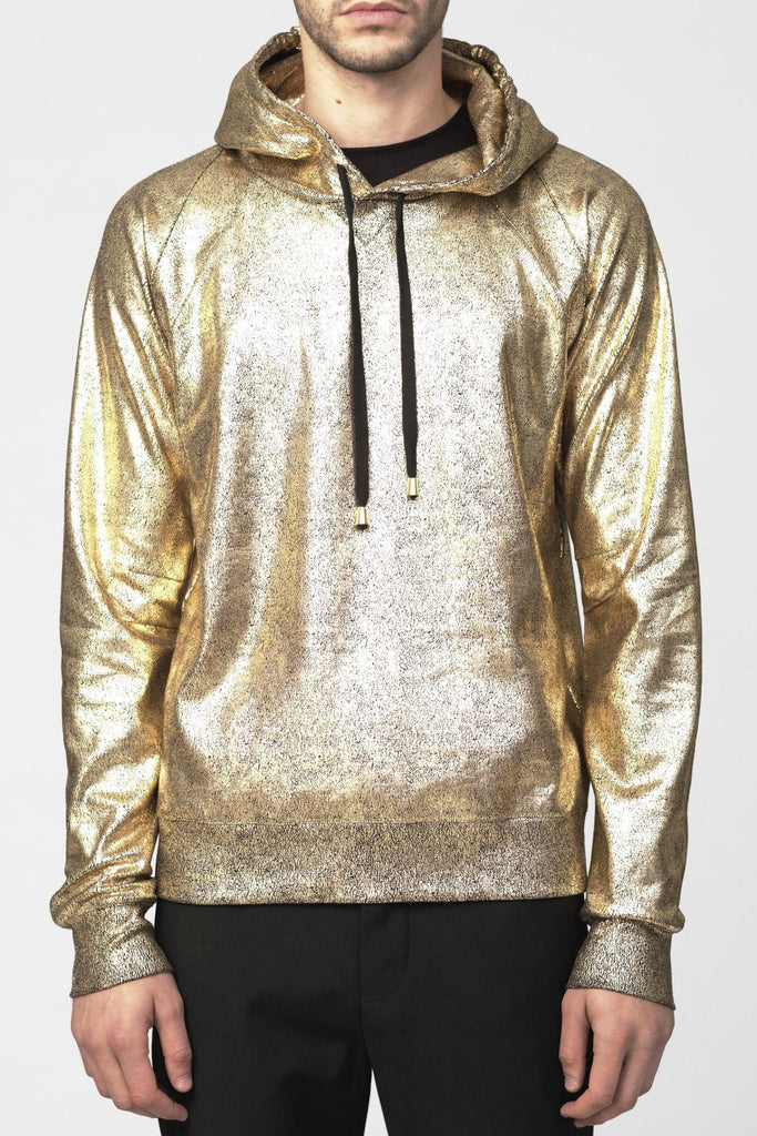 UNCONDITIONAL Gold foiled heavy cotton jersey slim fit hoodie.