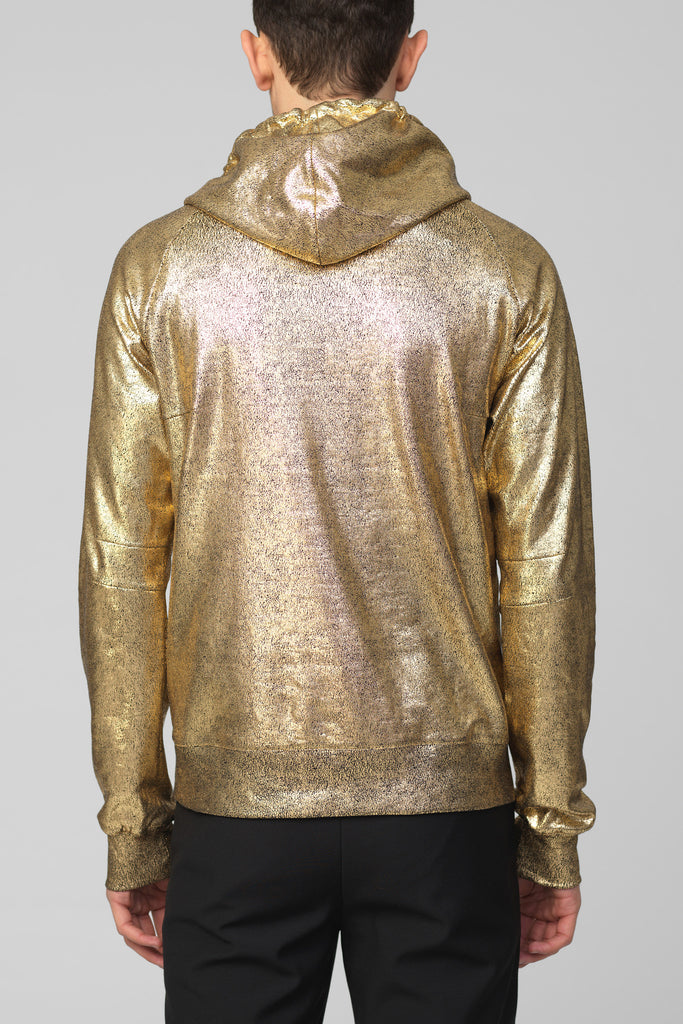 UNCONDITIONAL AW16 Gold foiled heavy cotton jersey slim fit hoodie.