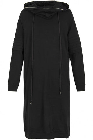 UNCONDITIONAL Black cotton jersey long Biker hoodie-coat