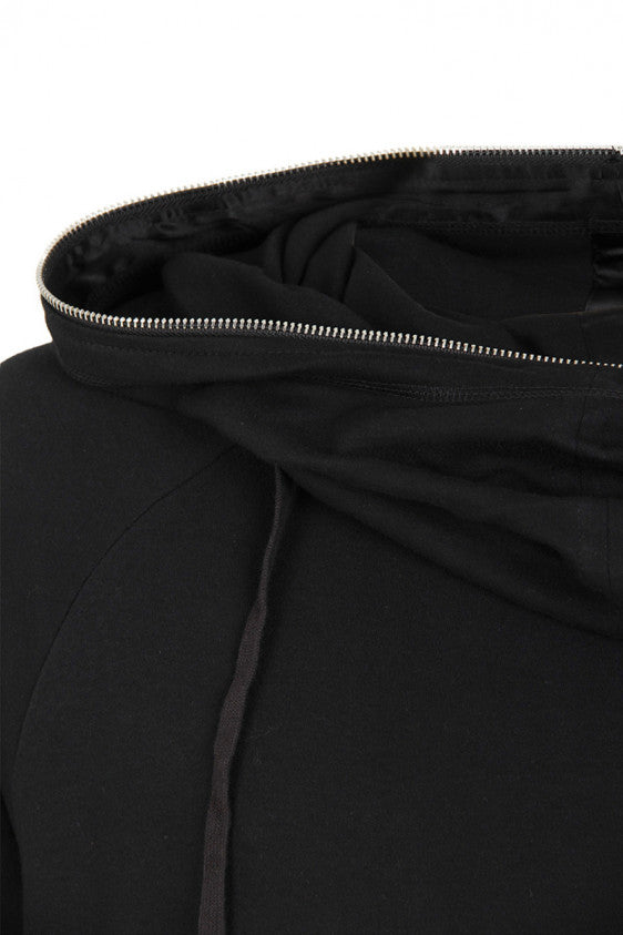 UNCONDITIONAL AW19 Black zip edge funnel neck long tunic hoodie