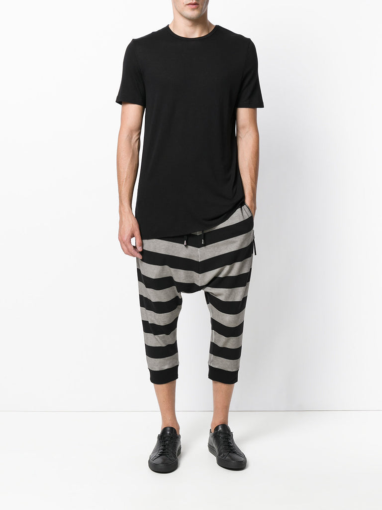 UNCONDITIONAL SS19 Black and Stone cold dye horizontal striped drop crotch shorts