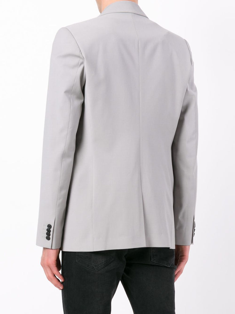 UNCONDITIONAL Silver grey pure wool signature cutaway jacket.