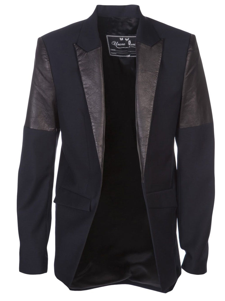 UNCONDITIONAL navy and black cutaway jacket with contrast leather lapel and leather arm detail.