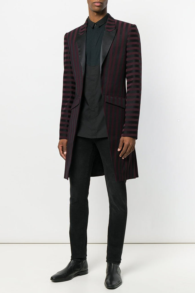 UNCONDITIONAL AW18 Navy-Black striped Tuxedo tailcoat
