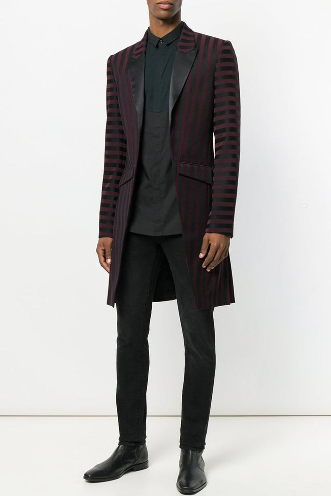 UNCONDITIONAL AW18 Burgundy-Black striped Tuxedo tailcoat