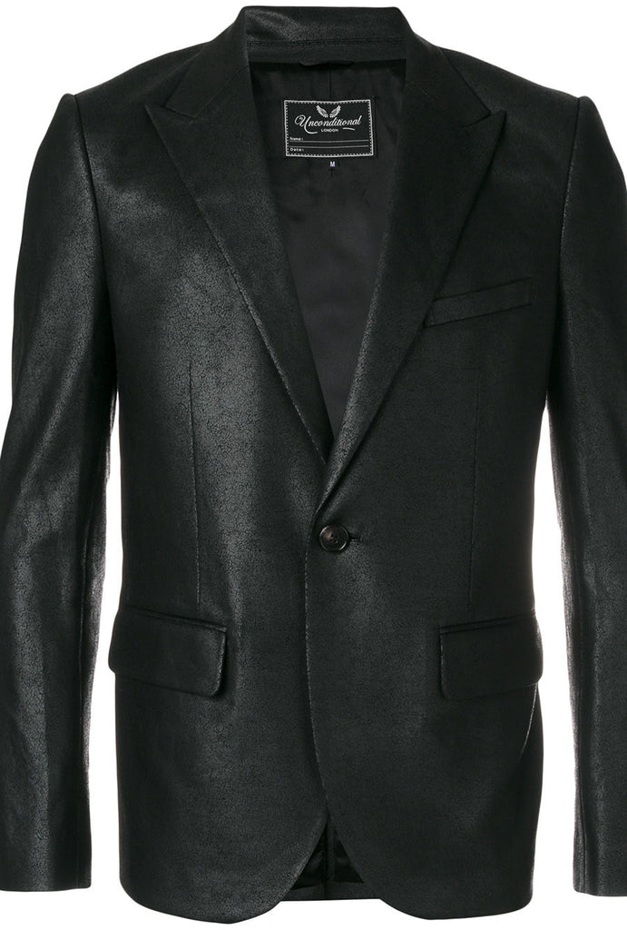 UNCONDITIONAL black leather look foiled peak lapel one button jacket