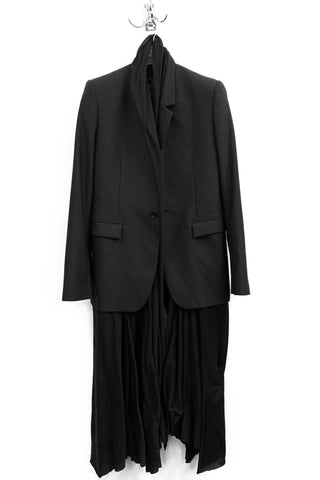 UNCONDITIONAL Black Wool boxy tailored jacket with paper leather inset lapels