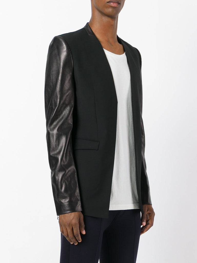 UNCONDITIONAL 18 BLACK ANGLED CUTAWAY JACKET WITH LONG LEATHER SLEEVES