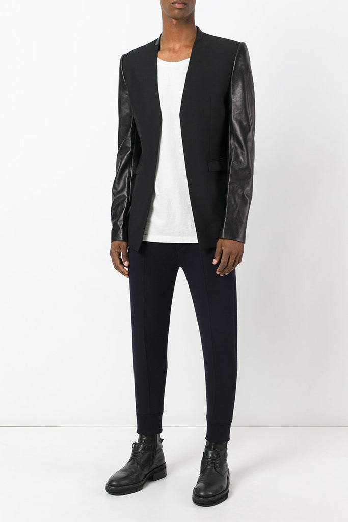 UNCONDITIONAL AW19 BLACK CUTAWAY JACKET - LONG LEATHER SLEEVES