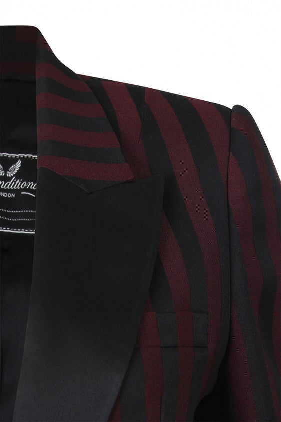 UNCONDITIONAL Burgundy | Black stripe 1 button Tuxedo jacket with silk reveres