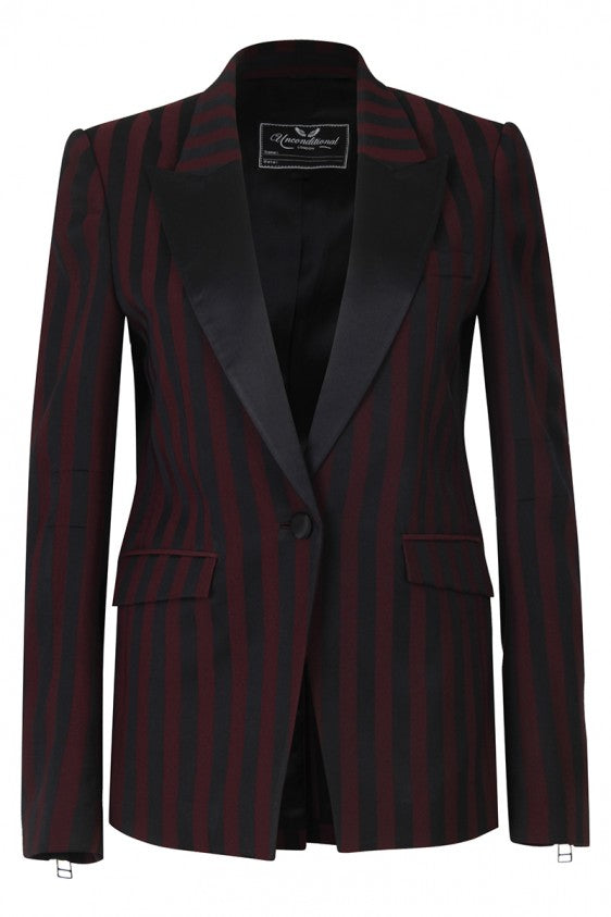 UNCONDITIONAL SS18  Burgundy | Black stripe 1 button Tuxedo jacket with silk reveres