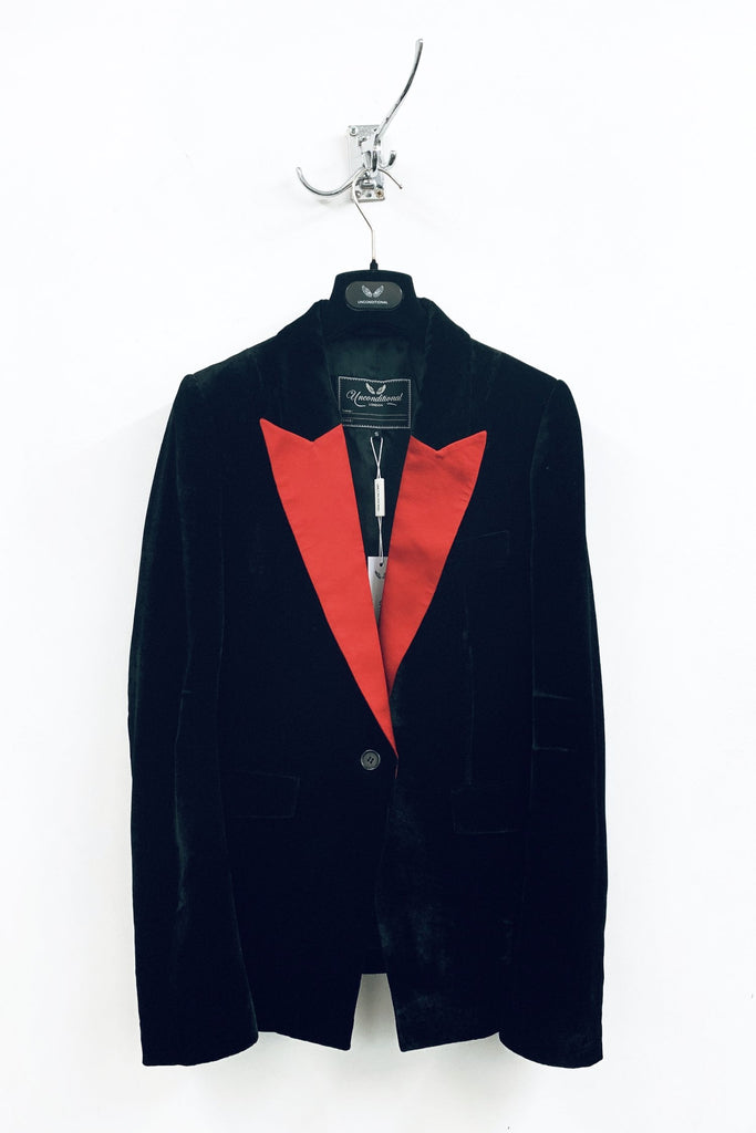 UNCONDITIONAL SS19 Black silk velvet | Red 1 button tuxedo jacket