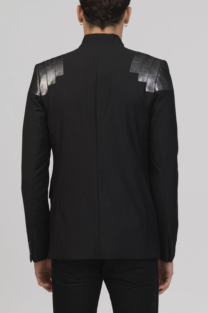 UNCONDITIONAL AW16 Black wool cutaway blazer with dark silver foiled leather shoulders.