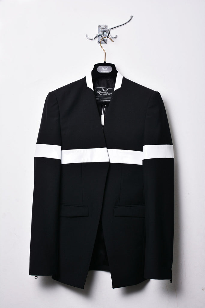 UNCONDITIONAL Black | White patent leather 'line of beauty' jacket